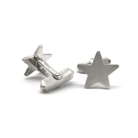 Solid Silver Star Cuff-links from Brash Bijoux. Great gift for the man in your life with a unique style