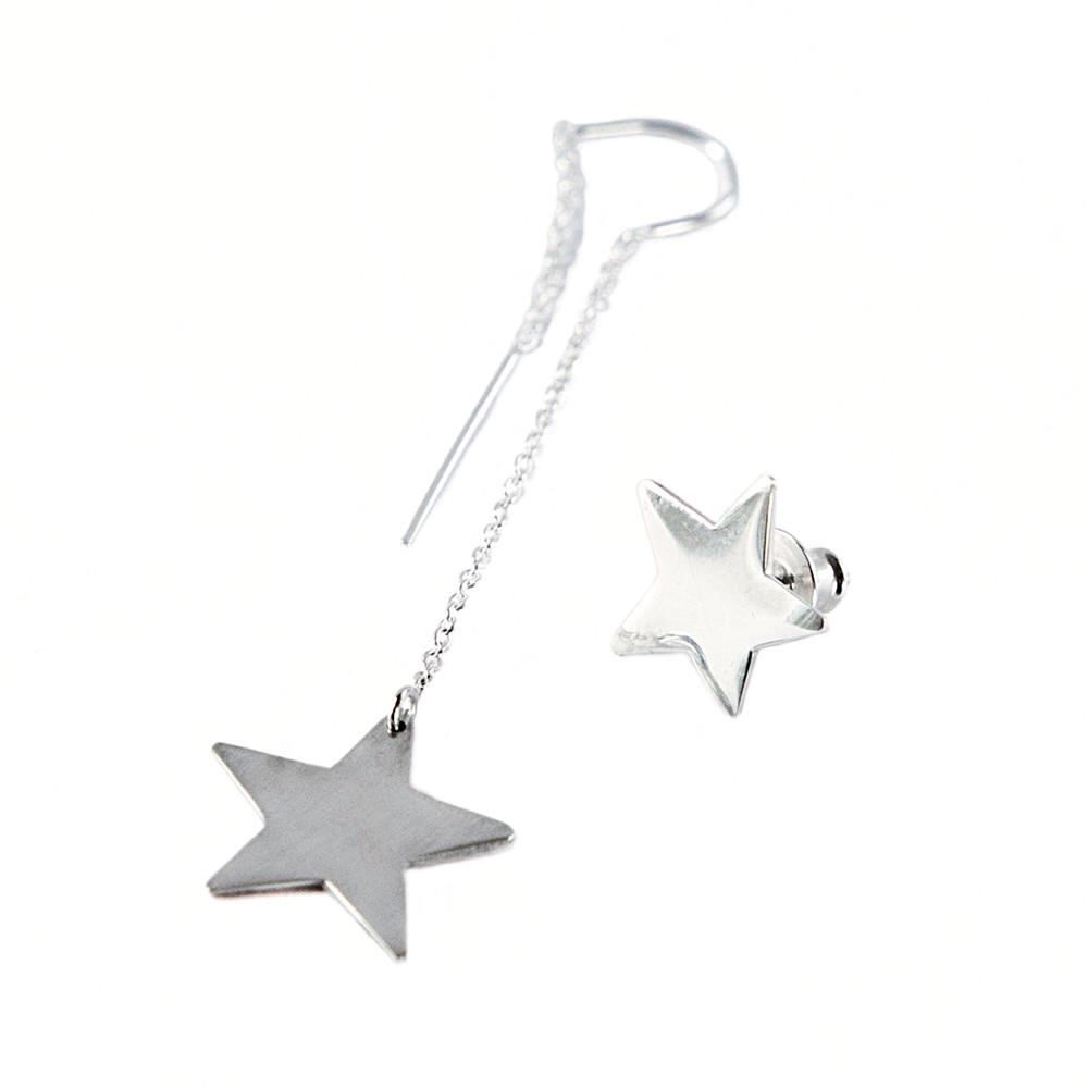 Star earring set of one Star on a dangle earring and one star stud