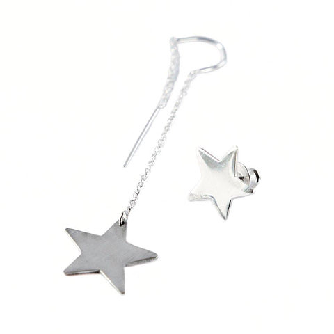 Single Silver Star Dangle Earring and Star Stud