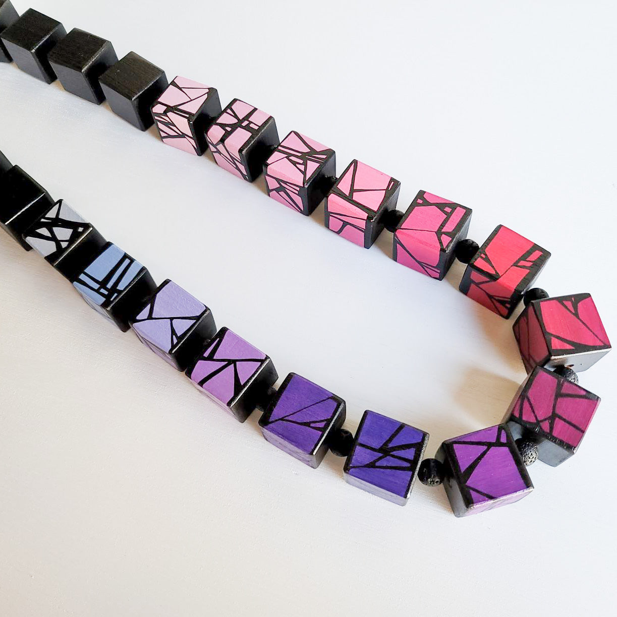 Bold painted wood bead necklace