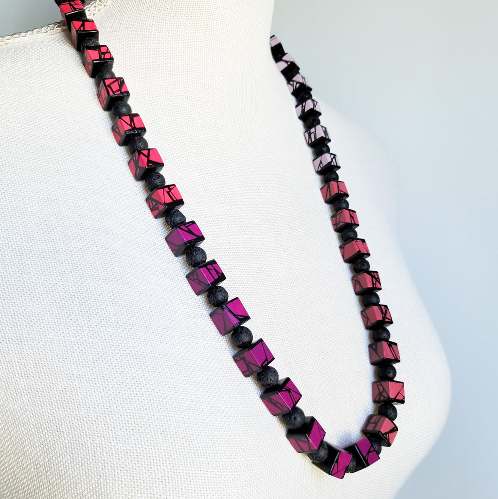 painted wood bead necklace in pink shades