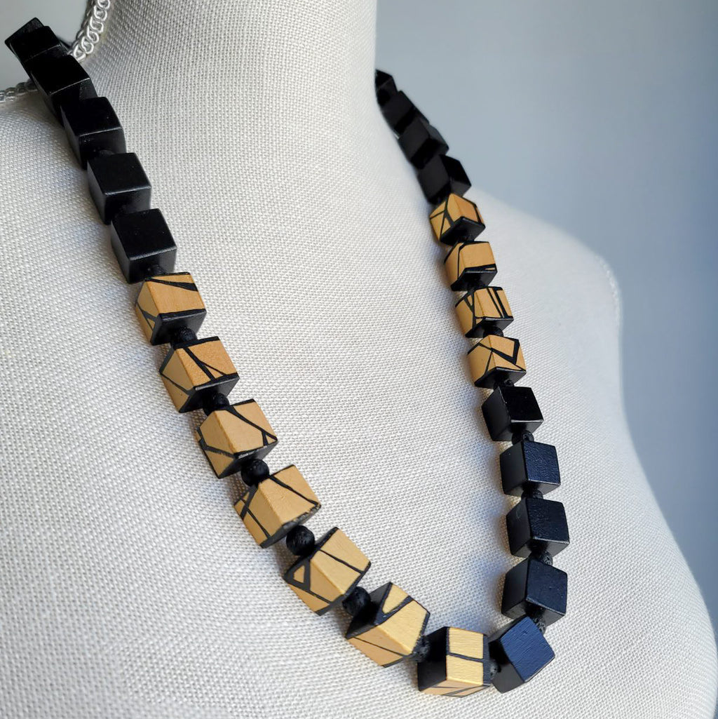 modern black and gold wood bead necklace
