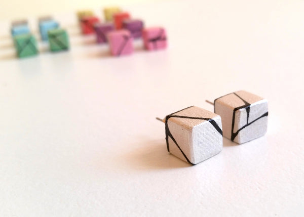 Painted Wood Stud Earrings in White Pearl