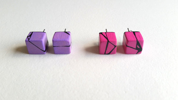 Pink Violet Wood Stud Earrings