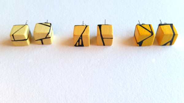Cadmium Yellow Wood Stud Earrings