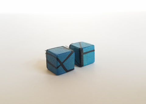 Dark Blue Painted Wood Stud Earrings
