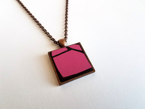 Pink Violet Wood Pendant in Copper tray And Chain