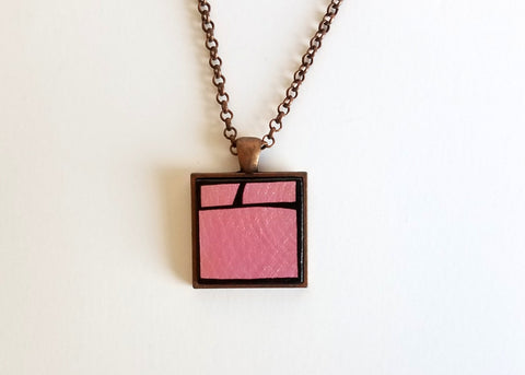 Metallic Pink Wood Pendant