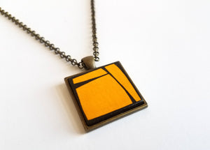 Cadmium Yellow Painted Wood Pendant