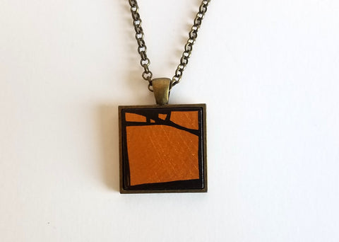 Gold Wood Pendant in Bronze Tray and Chain