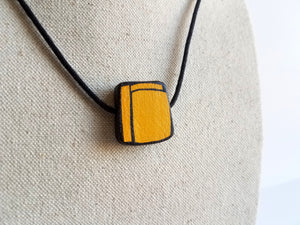 Painted Cadmium Yellow Wood Pendant