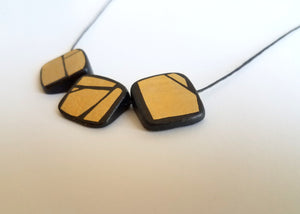 Gold Painted Prism Wood Necklace