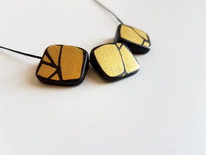 Painted Gold Wood Bead Necklace