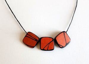 Orange Prism Wood Necklace