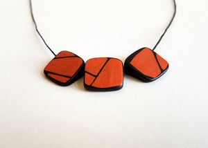 Painted Orange Prism Wood Necklace