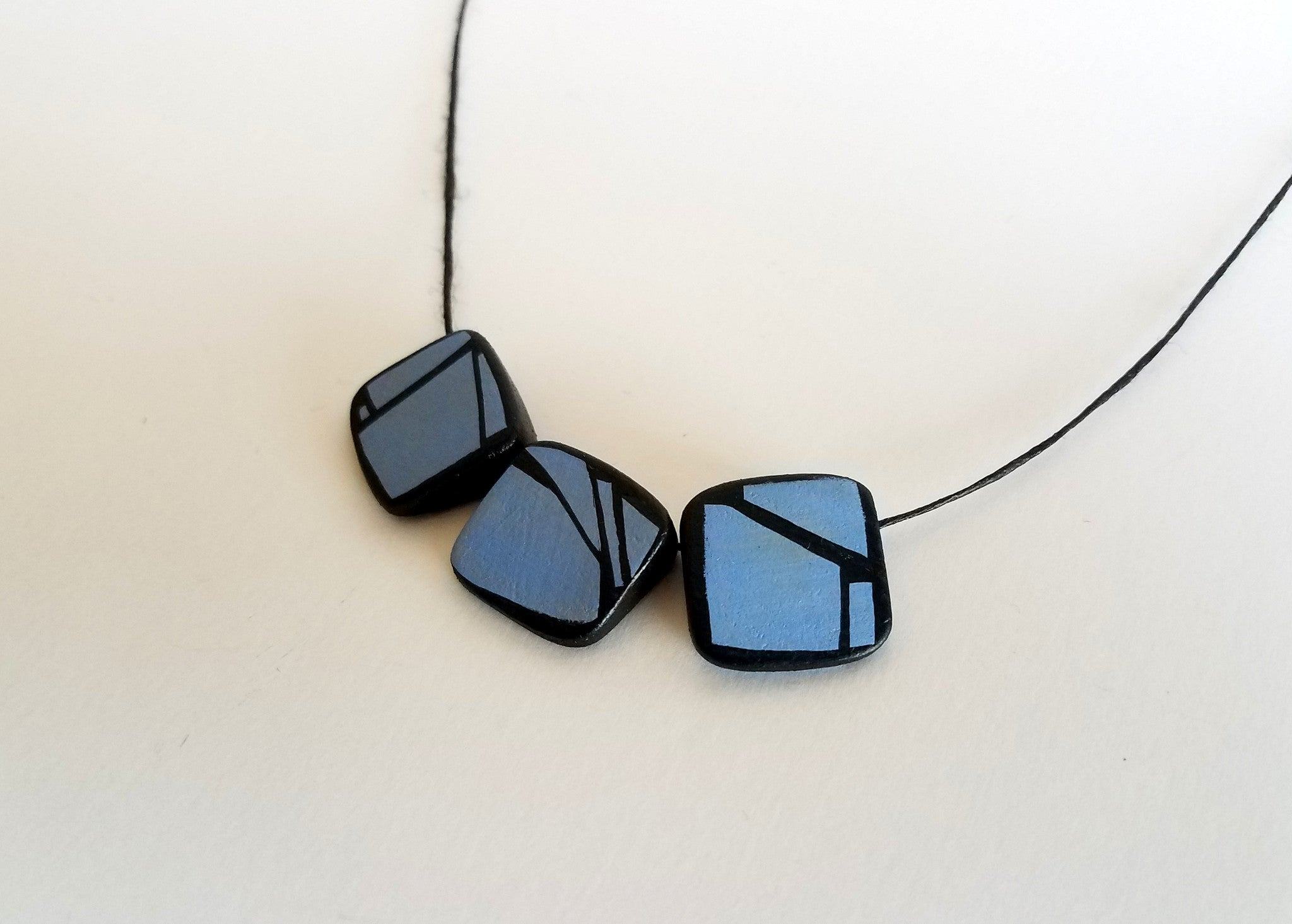 Blue prism bead Wood Necklace