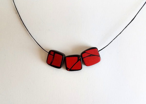 Red Painted Axe Wood Necklace