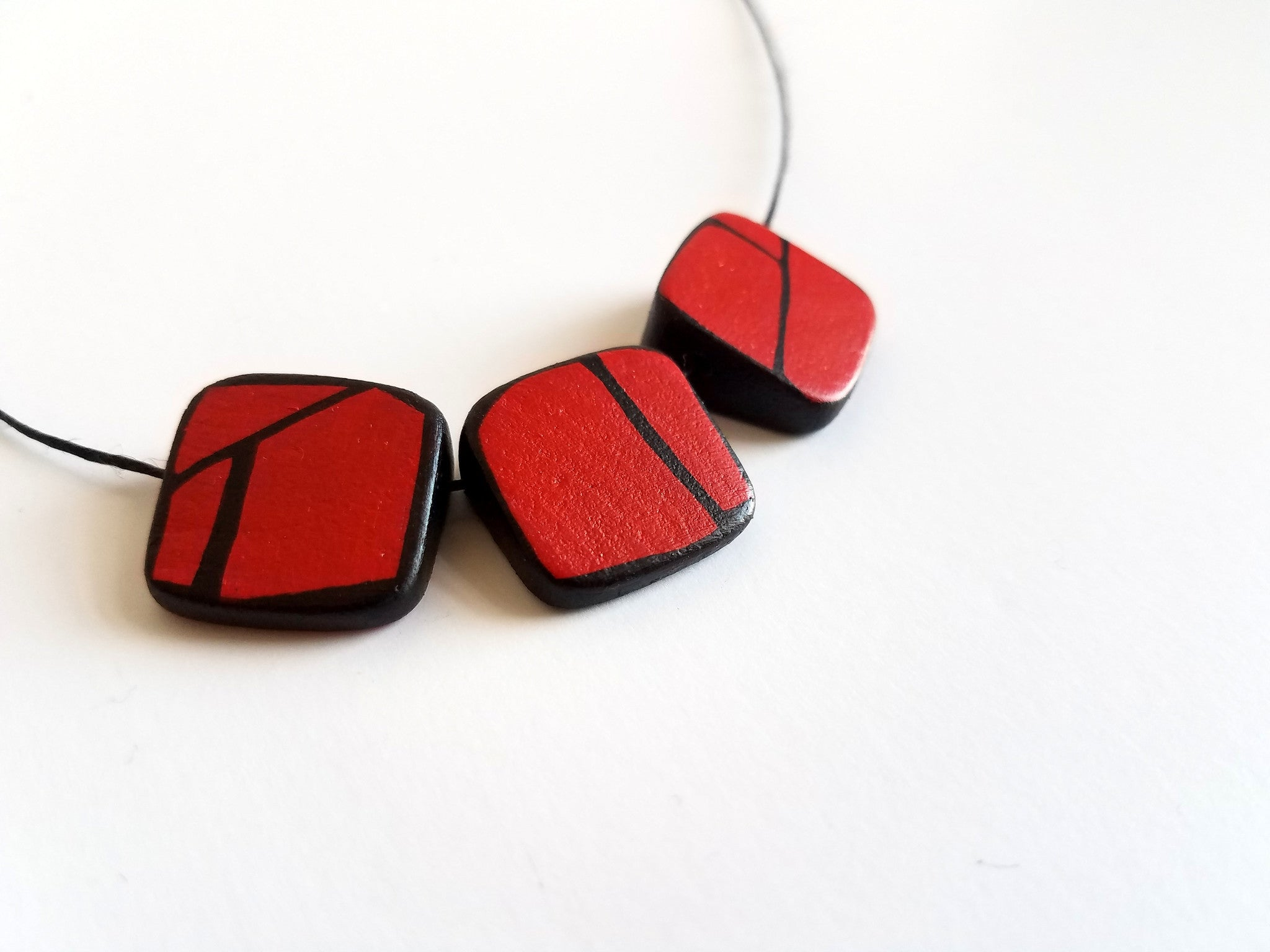 Red Painted Prism Wood Bead Necklace