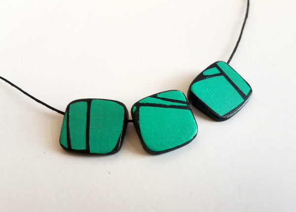 Aqua Green Axe Wood Necklace