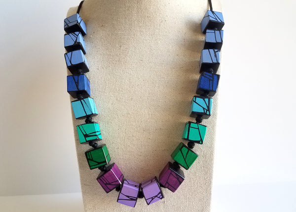 Colorful Painted Wood Necklace In Blue Green Violet