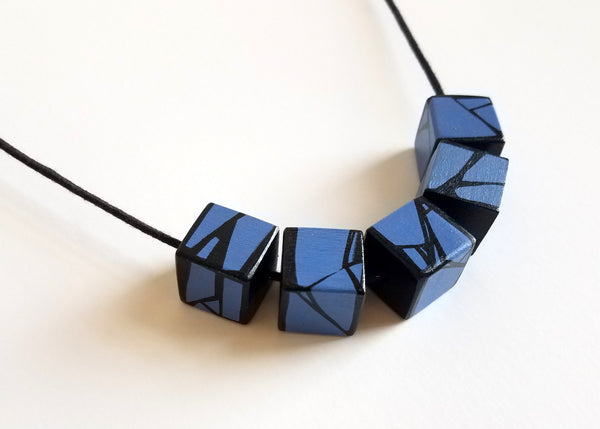 Blue Violet Wood Necklace