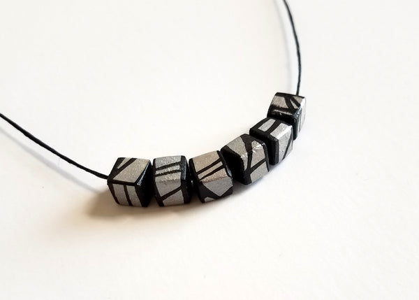 Minimal Silver Wood Necklace