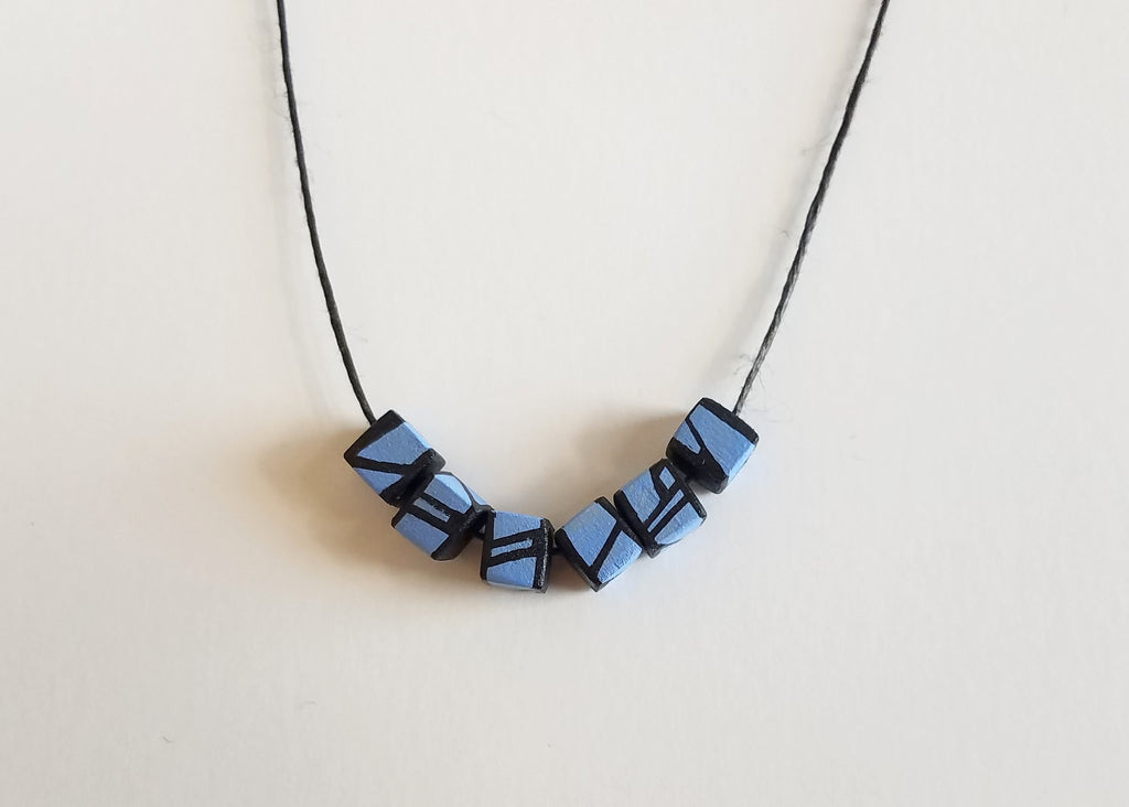 Minimal Blue Violet Wood Bead Necklace