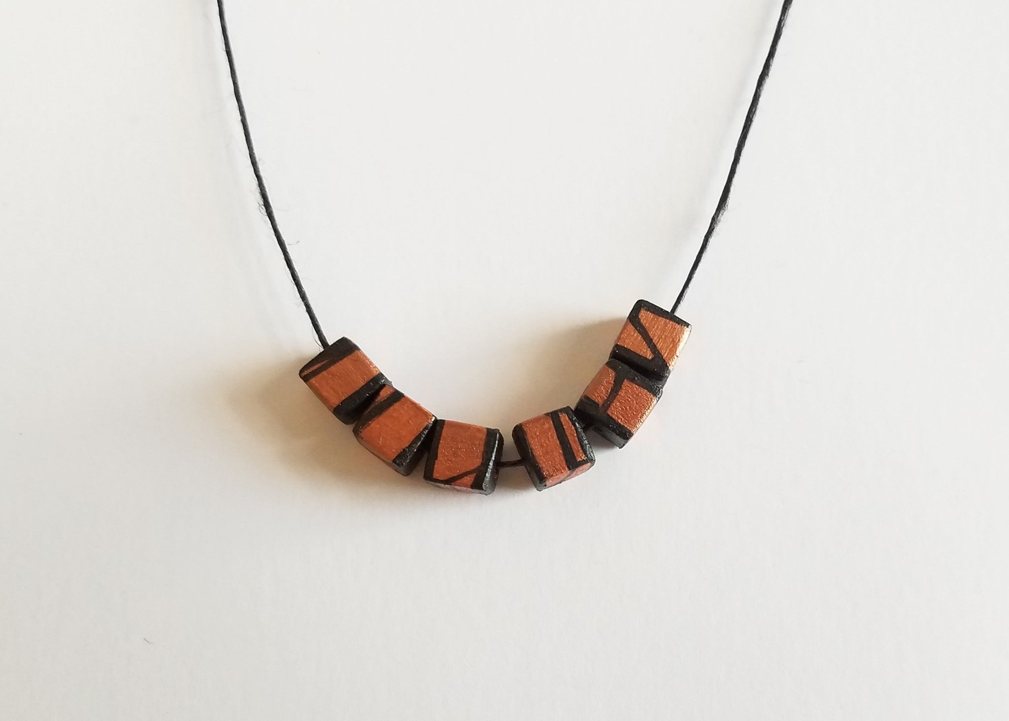 Minimal Painted Wood Necklace in Copper