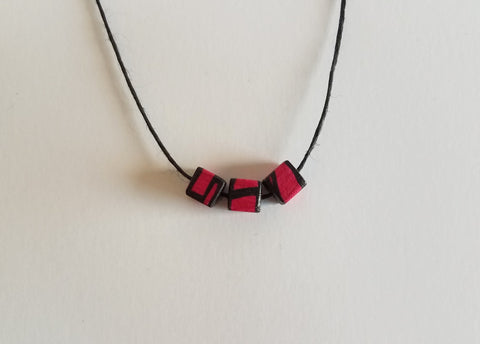 Minimal Fuchsia Wood Bead Necklace