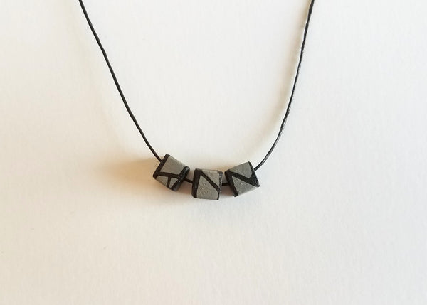 Minimal Matte Grey Wood Bead Necklace