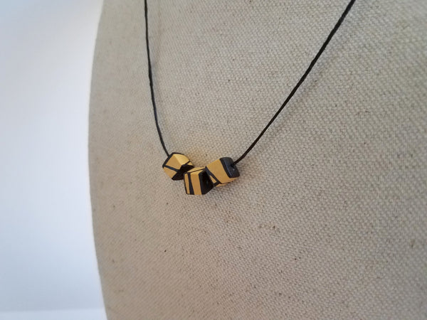 Minimal Titanium Yellow Wood Bead Necklace