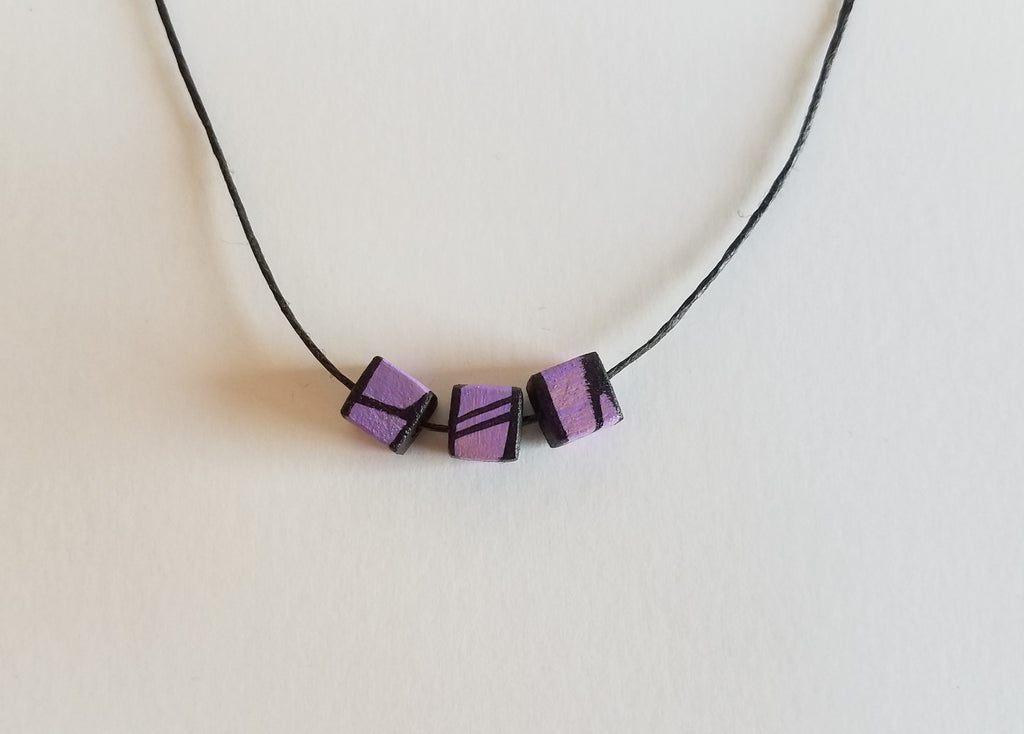 Minimal Purple Wood Bead Necklace