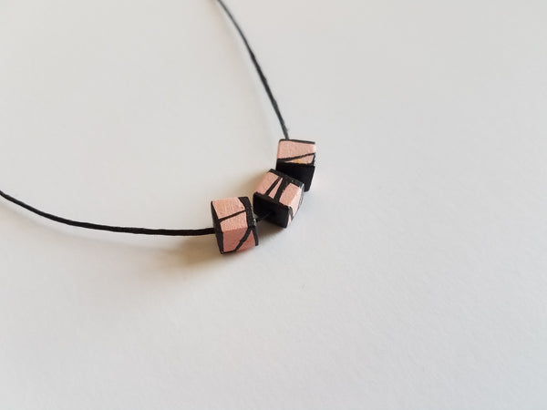 Minimal Modern Wood Bead Necklace in Light Pink