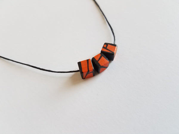 Minimal Orange Wood Bead Necklace