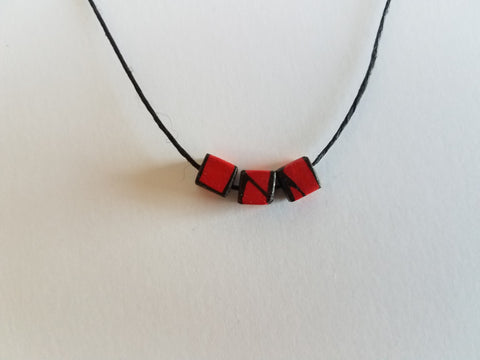 Minimal Wood Bead Necklace in Red
