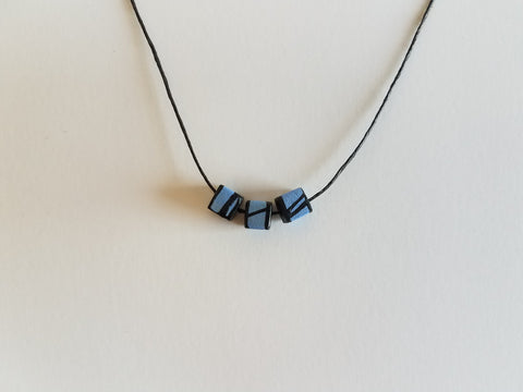 Minimal Blue Wood Bead Necklace