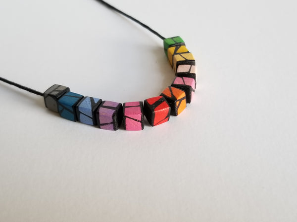 Rainbow wood necklace