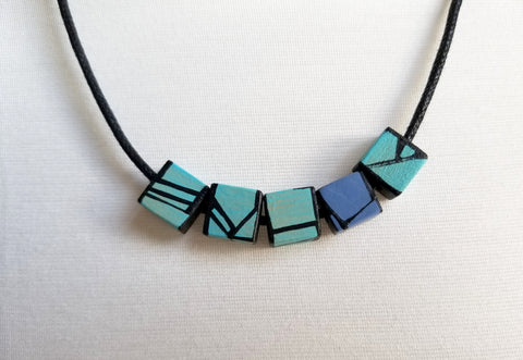 Light Blue wood necklace