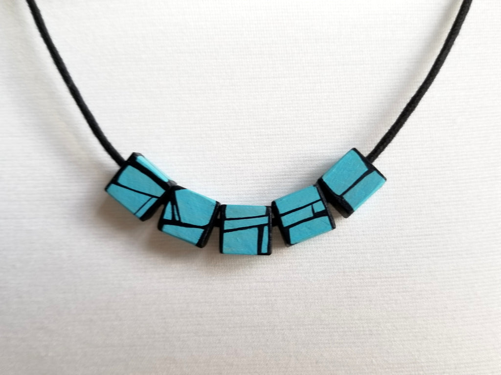 Light Blue Wood Bead Necklace