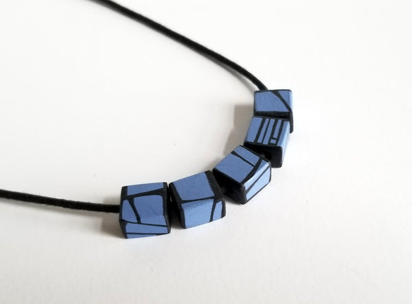 Handmade Painted Wood Necklace in Blue Violet