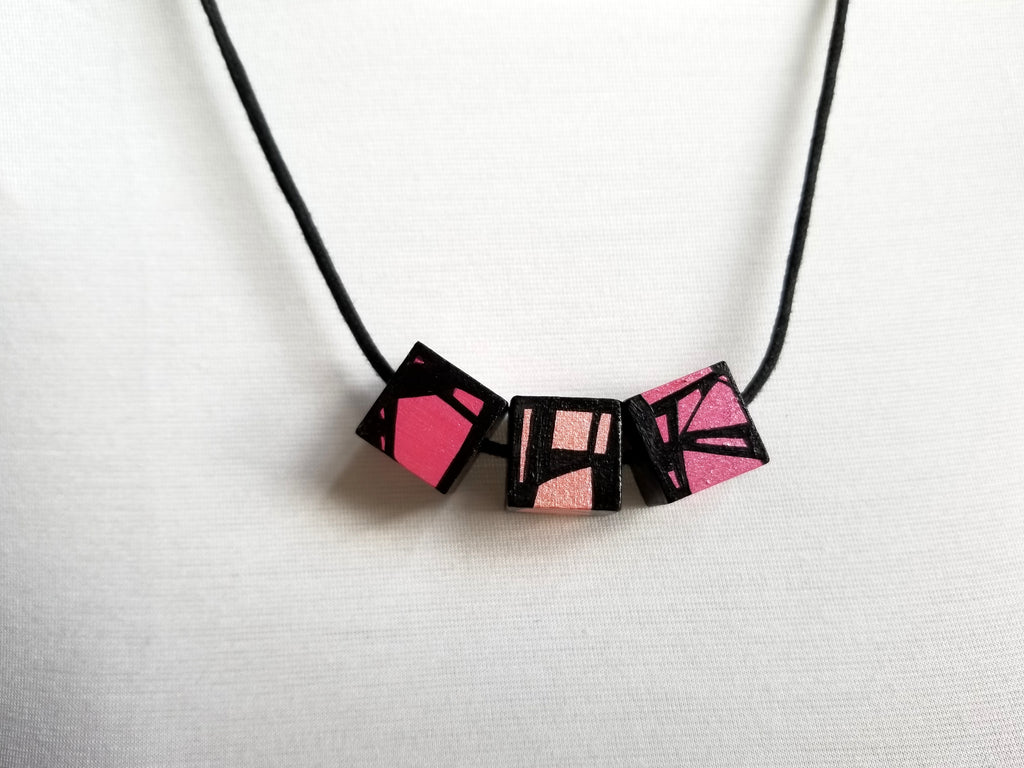 Pink Wood Necklace
