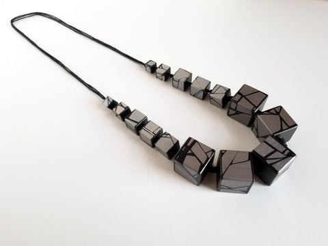 Silver Statement Wood Necklace