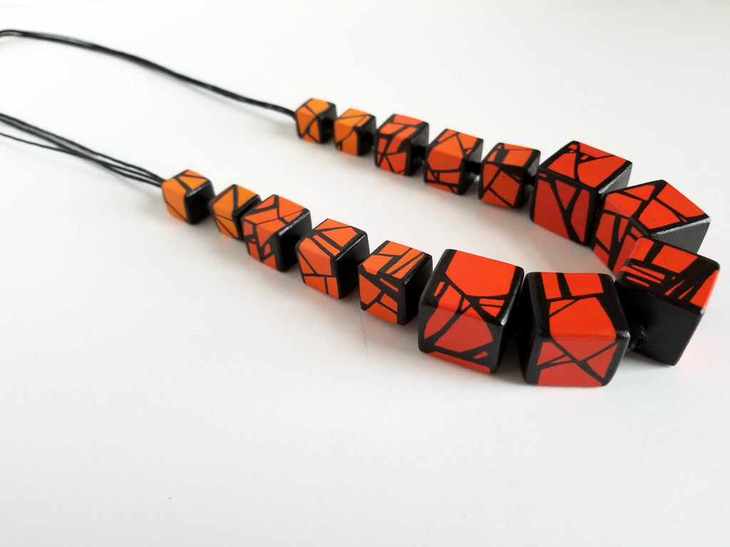 Statement Wood Necklace in Shades of Orange