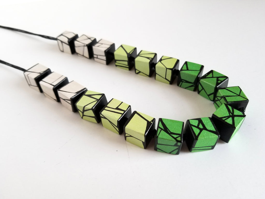 Metallic Green Wood Necklace