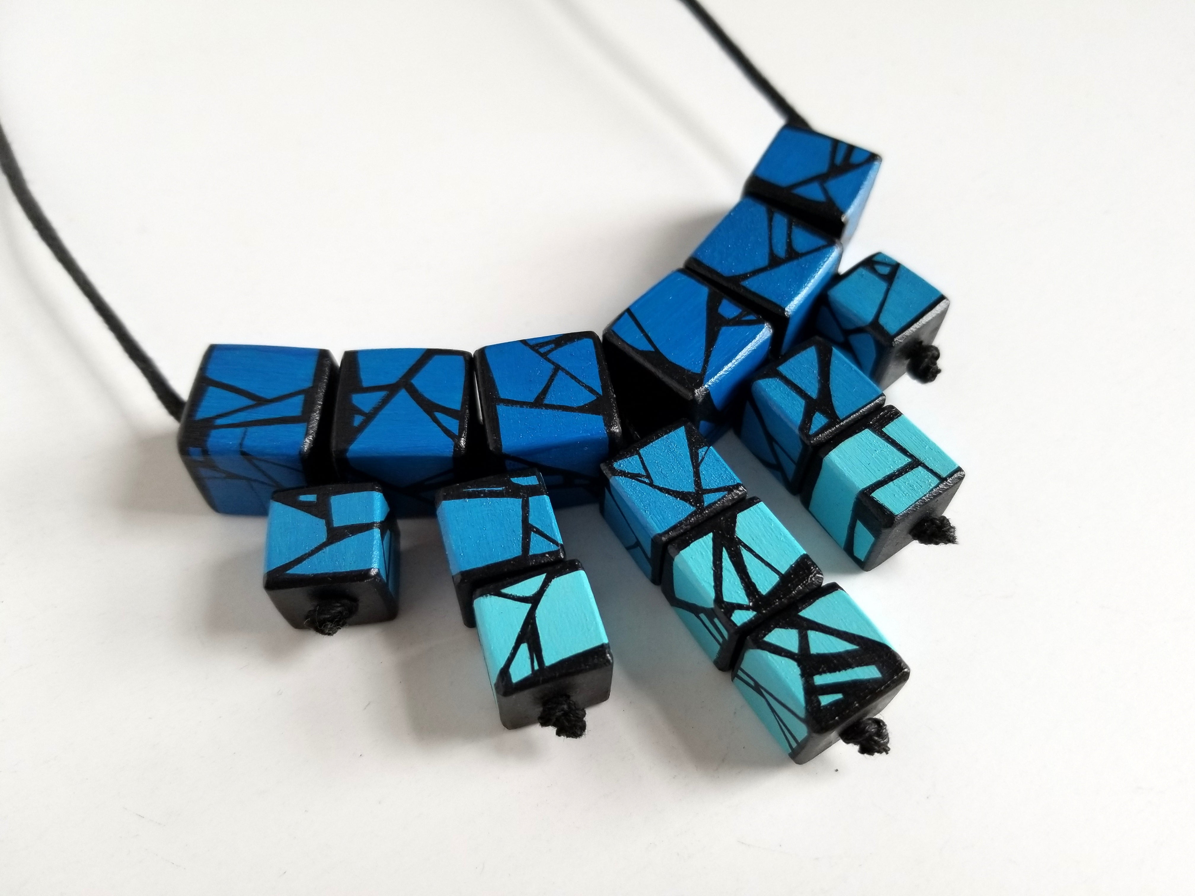 Wood Necklace in Shades Of Blues