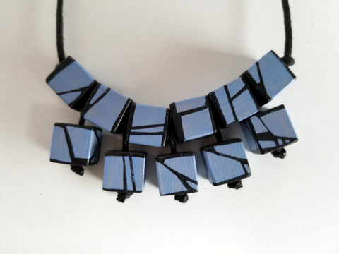 Blue Violet tiered statement necklace