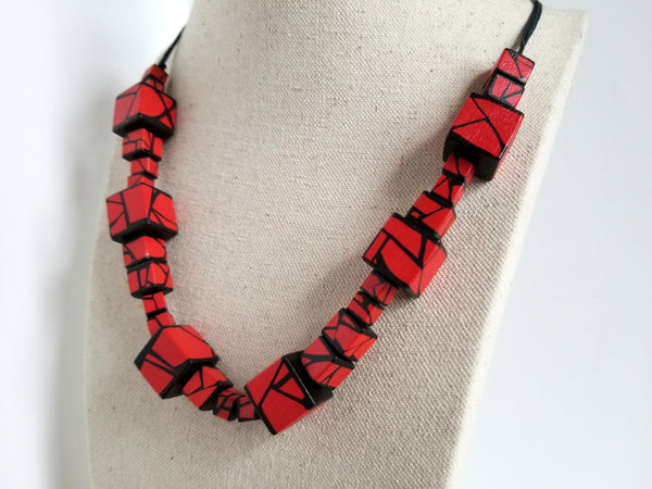 Red Wood Statement Necklace