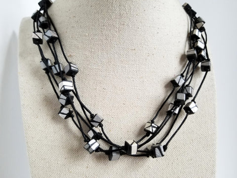 Silver Wood statement Necklace