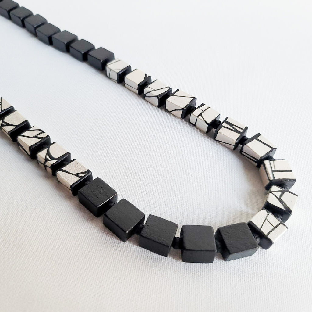 Black and white wood bead necklace