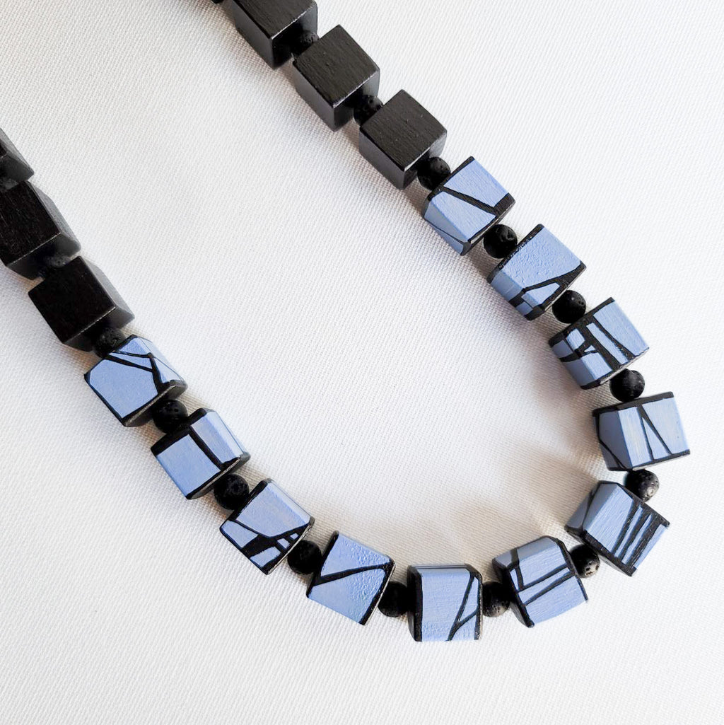 blue violet wood bead necklace
